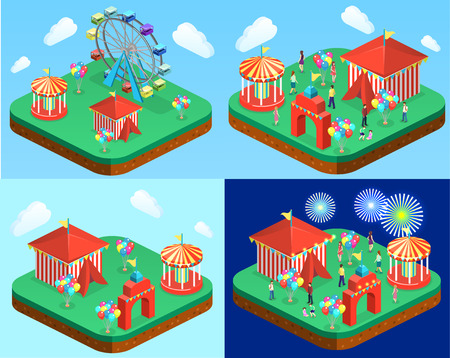 Isometric flat 3D isolated concept vector city banners with carousels. amusement park Vectores