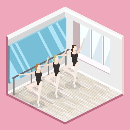 Isometric flat 3D isolated vector cutaway interior empty training dance-hall
