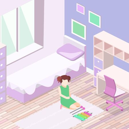 Isometric flat 3D cutaway interior Girls all pink bedroom interior.