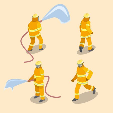 Isometric flat 3D isolated concept vector Firefighters in action. Vectores