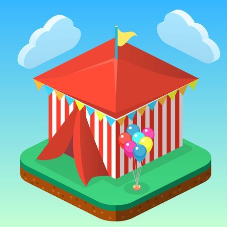 Isometric flat 3D isolated city banners with carousels. amusement park Vectores