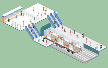 Isometric flat interior of metro subway train carriage. underground station Vectores