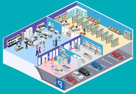isometric interior shopping mall, grocery, computer, household, equipment store. Vectores