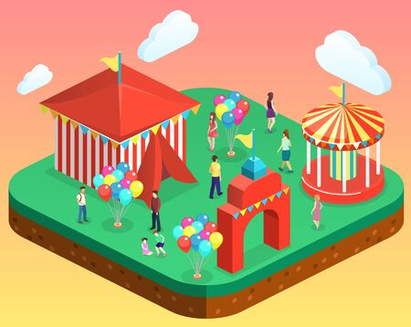 Isometric flat 3D vector city banners with carousels. amusement park