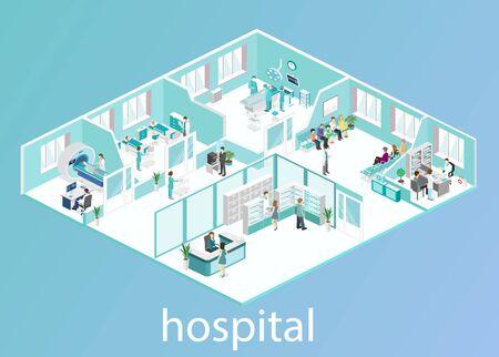 Interno piatto isometrico della stanza d'ospedale, farmacia, studio medico, sala d'attesa, reception, mri, operativo. Medici che curano il paziente. Illustrazione vettoriale piatta 3D Vettoriali
