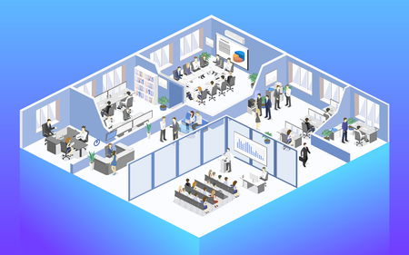 Isometric flat 3d abstract office floor interior departments concept vector. conference hall, offices, workplaces, director of the office interior Banque d'images - 110260684