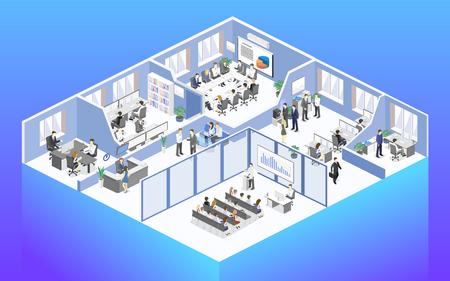 Isometrische flache 3d abstrakte Büroetage Innenabteilungen Konzept Vektor. Konferenzsaal, Büros, Arbeitsplätze, Direktor der Büroeinrichtung
