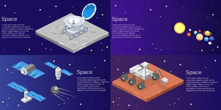 Isometric flat 3D isolated concept vector of a lunar rover on the surface of the moon, solar system, planets, satellites Vectores