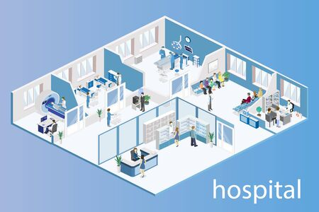 interior of hospital room, pharmacy, doctors office, reception