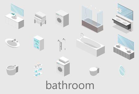 flat 3D isolated vector cutaway interior of bathroom