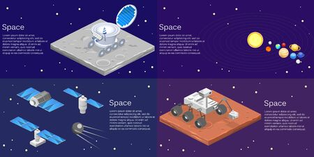 Isometric flat 3D isolated concept vector of a lunar car
