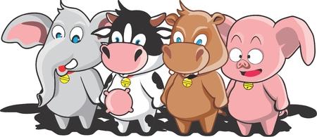 litle: litle cow and friends Illustration