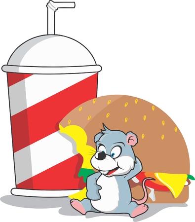 cutting sticker: mouse eat burger