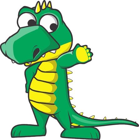 litle: greeting litle cute crocodile