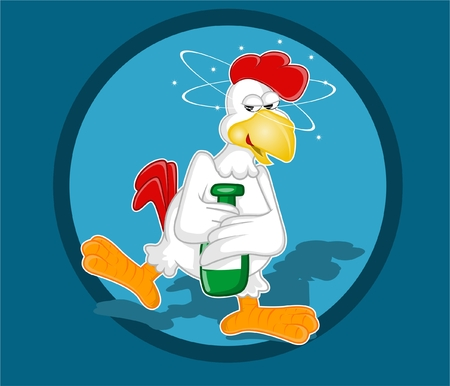 Drunken Chicken on blue background. Vector illustration.