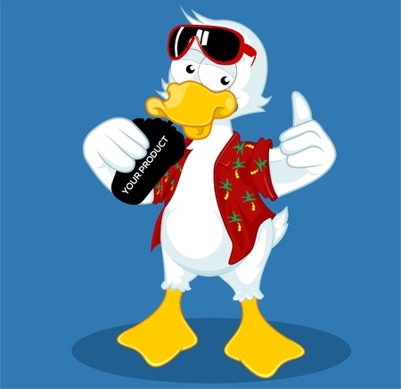 duck drinking soda thumb up cartoon cool vectors