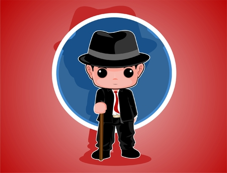Boy wearing black suit holding stick cartoon vectors