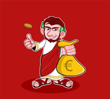 caesar cartoon holding money bag cartoon style