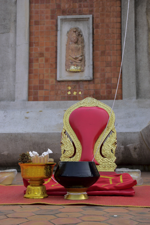sadhu: Seat of monk for worship in temple Stock Photo
