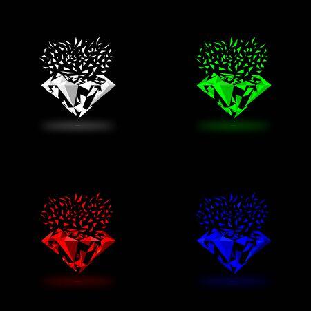 sapphire gemstone: gems vector with four colour
