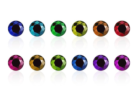 cuprite: synthetic diamond cubic zirconia set semiprecious gems isolated on white Illustration