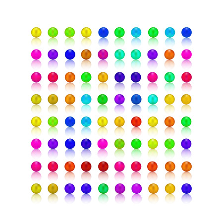 reflex: colorful pearls colorful candy rams square with white reflex shadow only for white background vector illustration