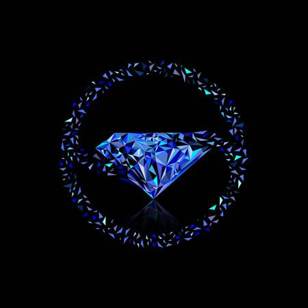 Exploded small triangles rouding and merge to become a diamond shape blue color circle Vectores