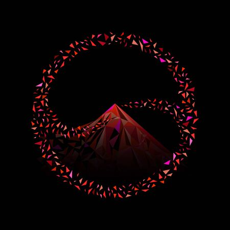 Exploded small triangles rouding and merge to become a mountain shape red color tone circle Ilustração