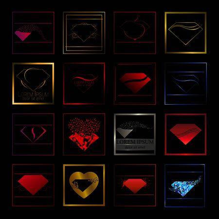Diamond gems icon set Vectores