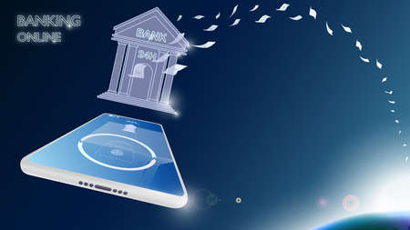Mobile Bangking online concept, transfer money, receive money, pay and check balance like you have your own bank on your mobile whenever you want, wherever you are.