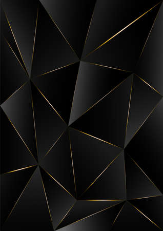 black triangle, dark wallpaper background with gold border line path A4 size