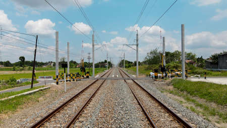 Aerial View of Train Rail with new electronic pole for KRL train in Yogyakarta Indonesia
