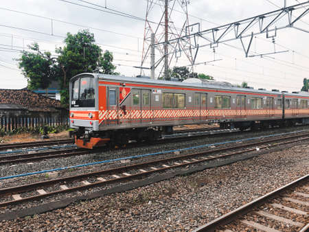 KRL train parks in Klaten Station. Indonesia, Klaten : August 2021.
