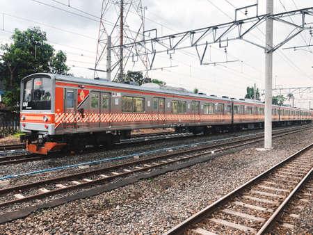 KRL train parks in Klaten Station. Indonesia, Klaten : August 2021. Sajtókép