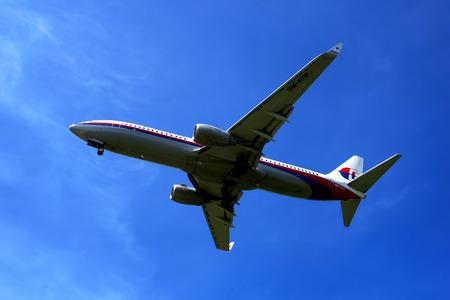 KUALA LUMPUR INTERNATIONAL AIRPORT - July 19 : Boeing 737-8FZ (9M-FFF) Malaysia Airlines ready to land at Kuala Lumpur International Airport, Malaysia on July 19, 2014.