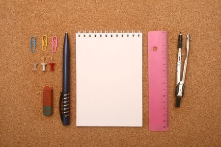 Composition from school accessories. photo
