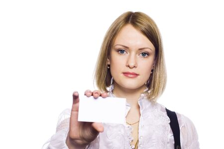 Attractive Businesswoman Closeup - presenting her business card Stock Photo - 7158489
