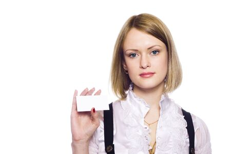 Attractive Businesswoman Closeup - presenting her business card Stock Photo - 7158488