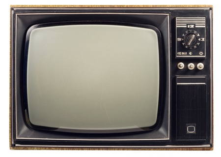 retro tv: Old vintage TV over a white background Stock Photo