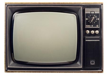 old technology: Old vintage TV su sfondo bianco Archivio Fotografico