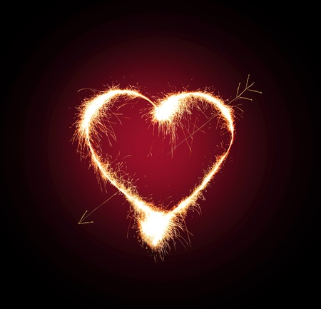 red love heart with flames: Sparkler heat heart.