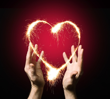 fiery heart of a person Stock Photo