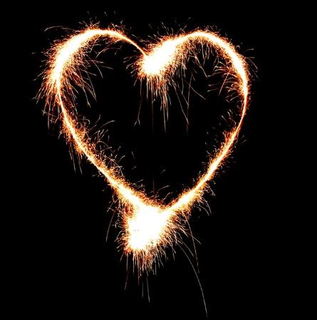 Sparkler heat heart. photo
