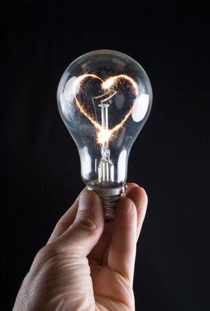 human heart: Fiery heart of an electric bulb
