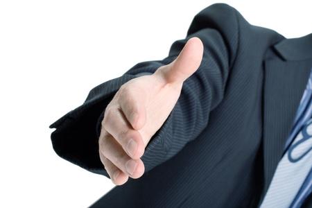 Businessman saying welcome photo