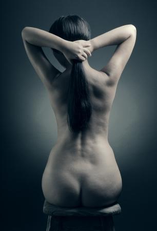 Young beauty nude women back photo