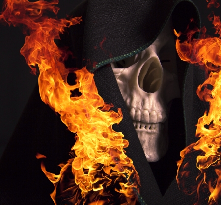 Scary skull on fire  photo