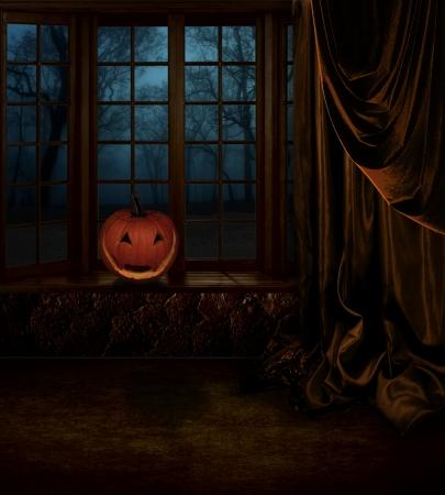 gothic window: Halloween  Mystical interior with pumpkin