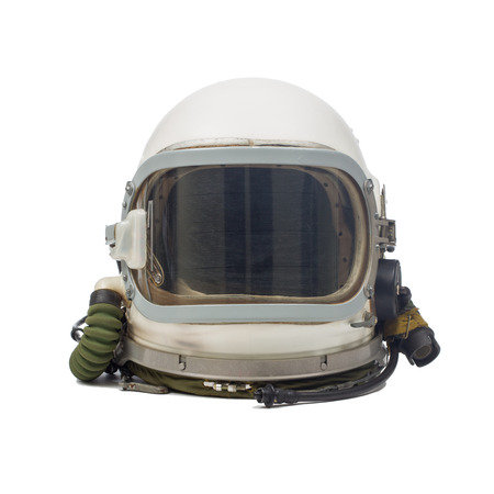 astronaut in space: Soviet pilot military helmet