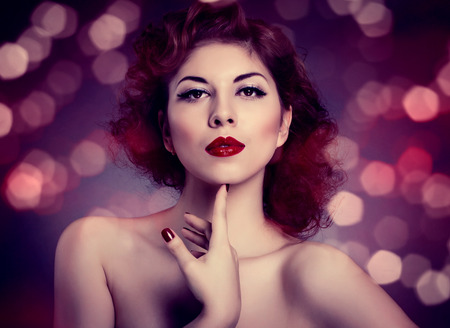 Manicure and Makeup. Make up concept. Beauty woman face photo